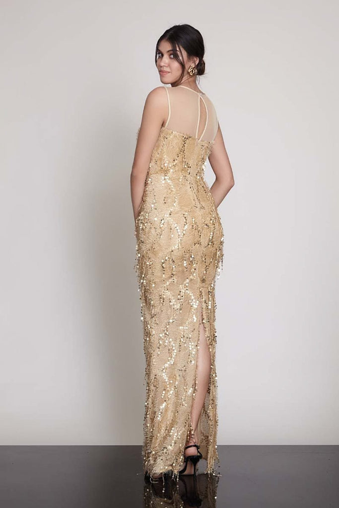 Illusion Neckline Sleeveless Beaded Long Evening Dress TK1092998