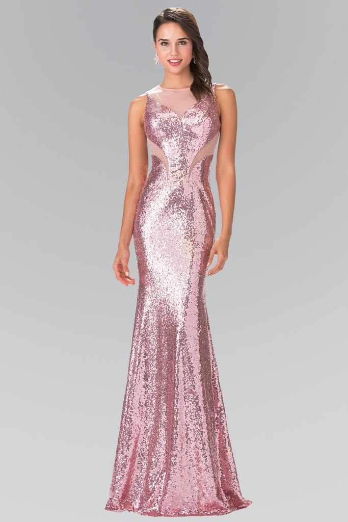 Mermaid Shape Sequined Long Open Back Dress GLSGL2292