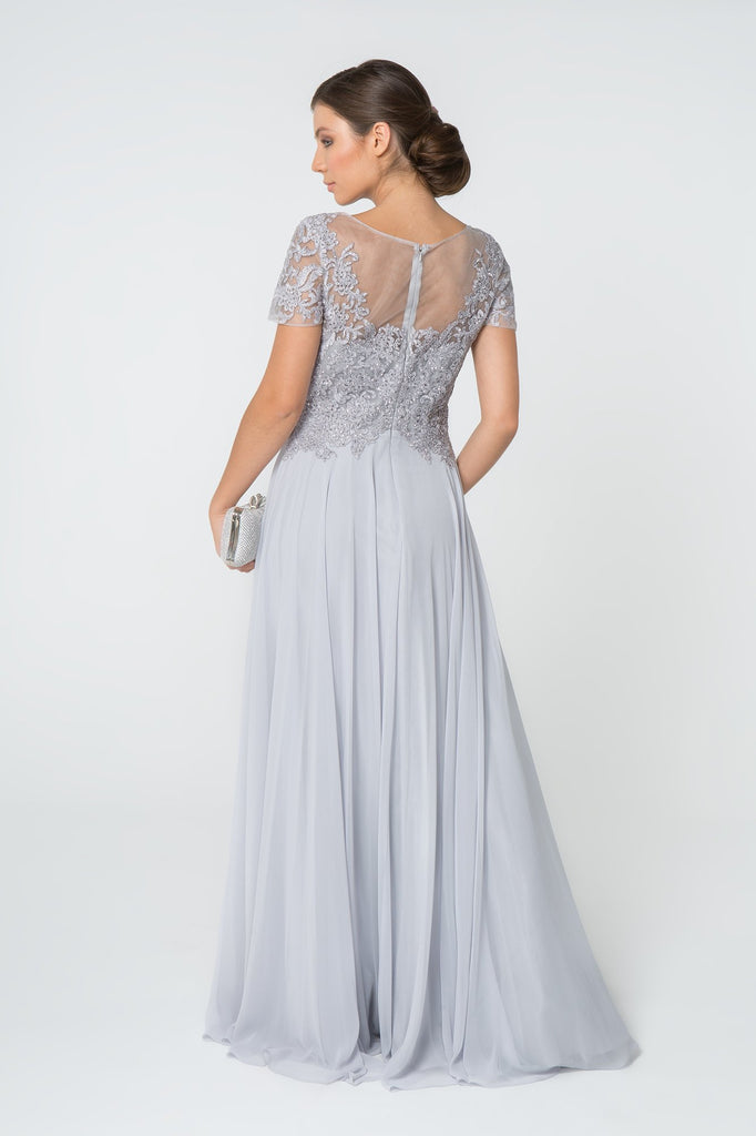 Illusion Jeweled Neckline Short Sleeves Long Evening Dress GSGL2813