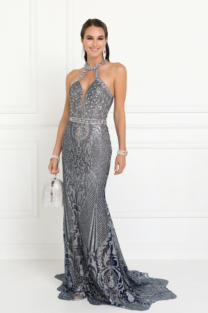 NEW Halter Neckline Sleeveless Long Mermaid Prom Dress with Beadings GSGL1549