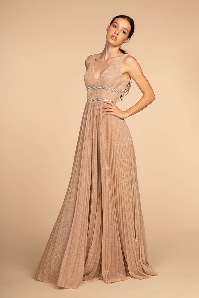 Deep V-Neckline Sleeveless Long Prom Dress GSGL2501