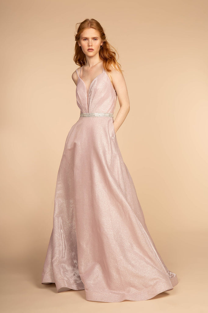 V-Neckline Long Prom Dress with Open Back GSGL2504