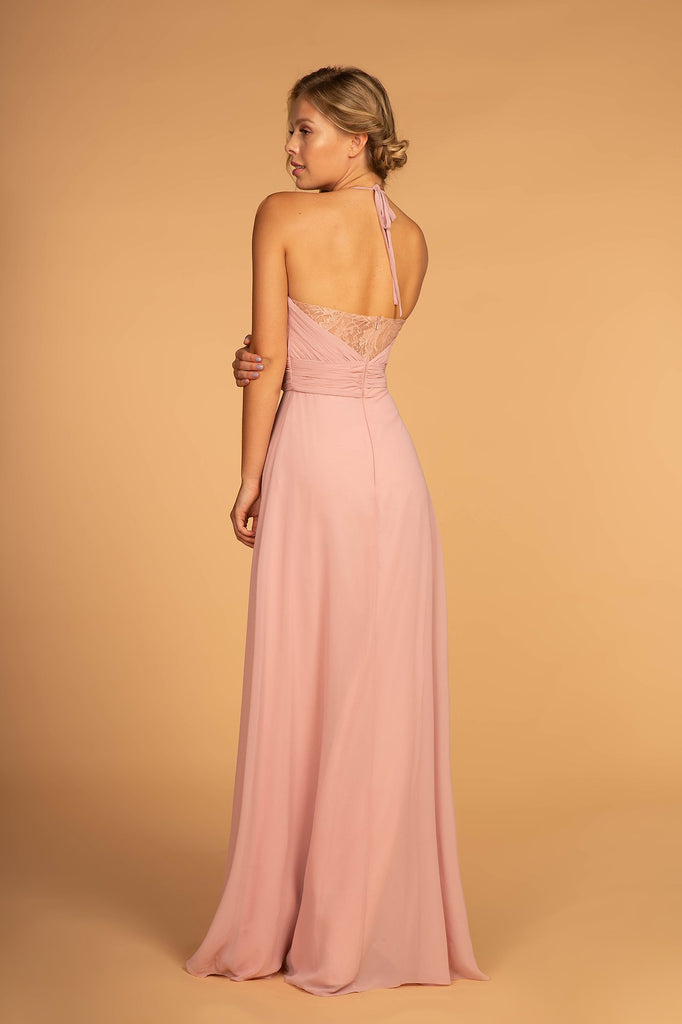 V-Neckline Chiffon Long Bridesmaid Dress 11GL2606