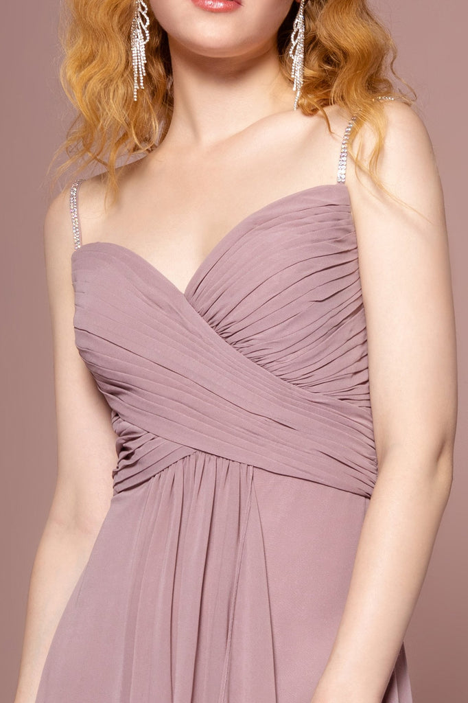Chiffon Sweetheart Neckline Sleeveless Long A-Line Bridesmaid Dress GSGL2666