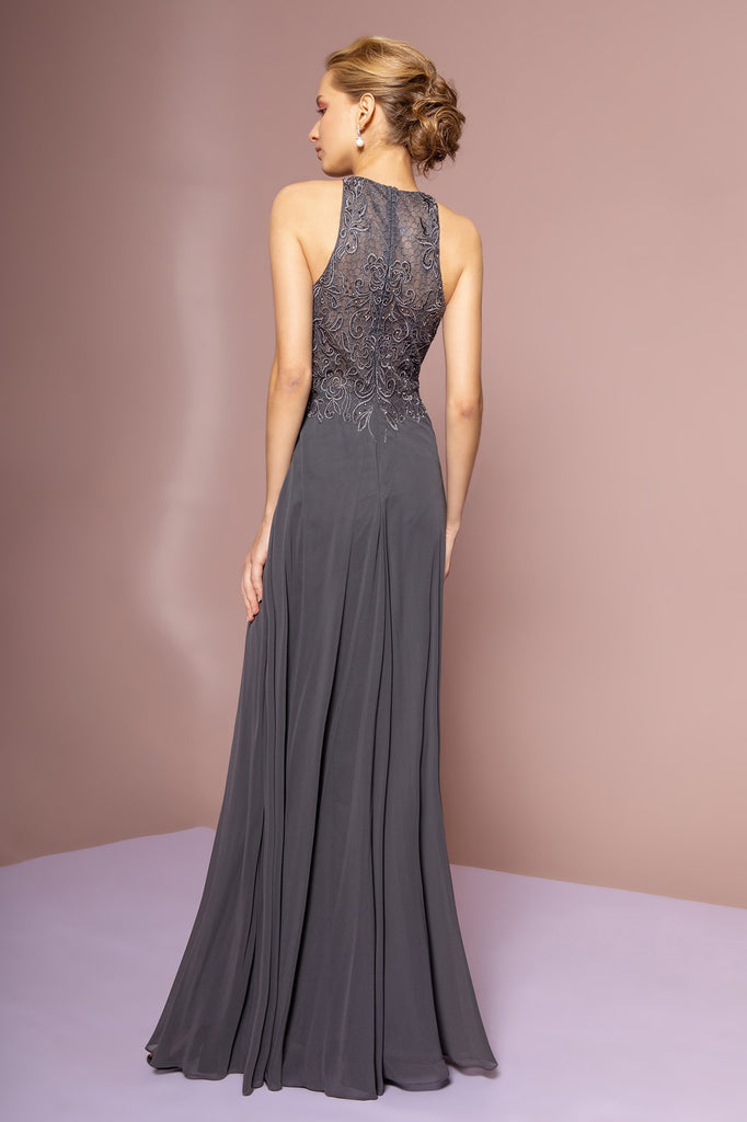 Jeweled Top Floor Length A-Line Sleeveless Bridesmaid Gown GSGL2680AP