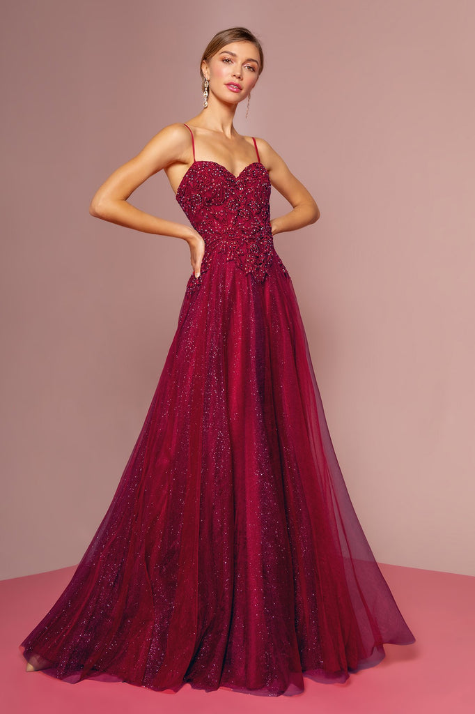 Sweetheart Neckline Long Prom Dress with Jeweled Waist GSGL2694