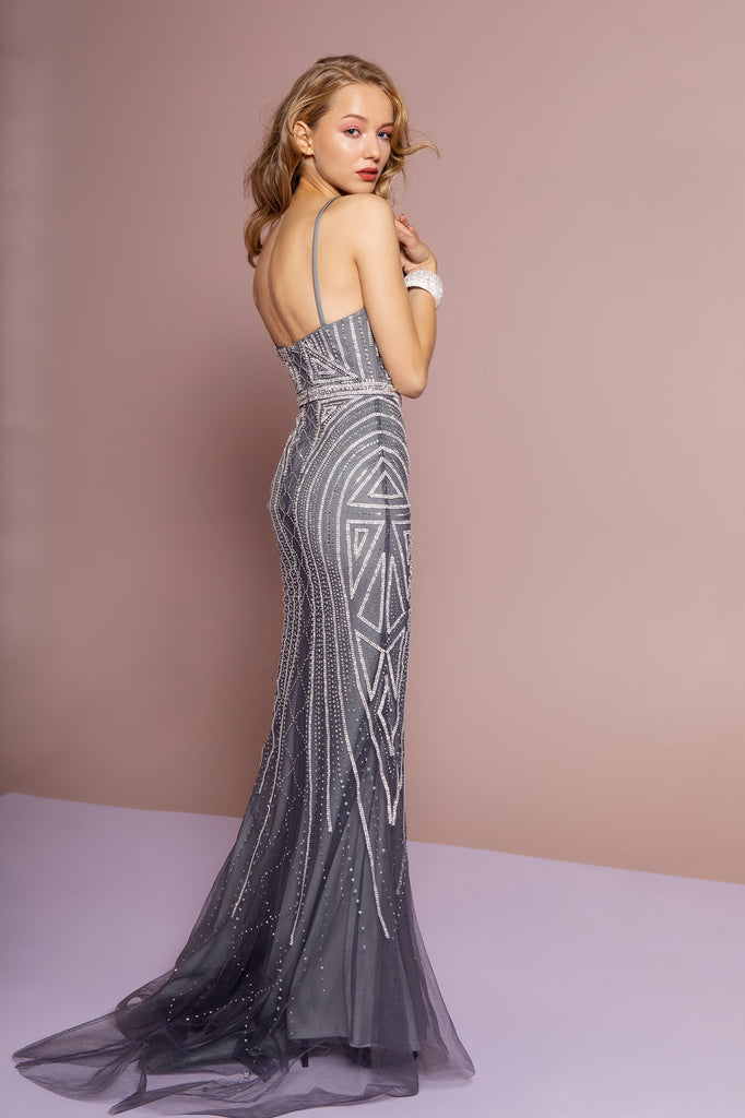 NEW Sequined Bodice Sweetheart Neckline Long Prom Dress GSGL2700