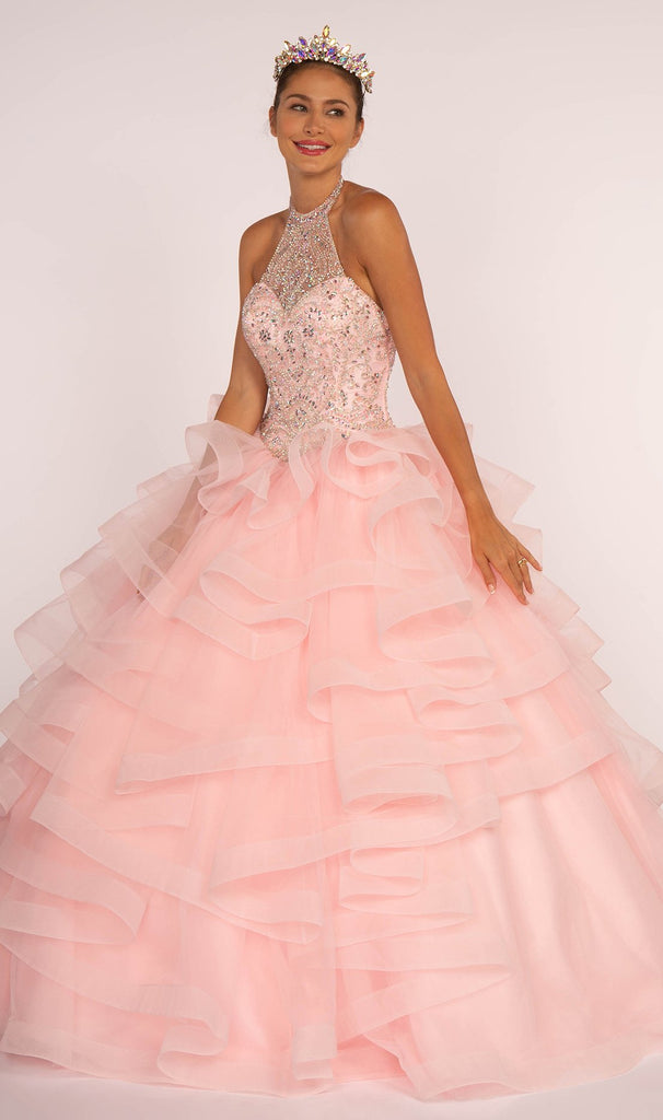 Halter Neckline Jeweled Long Ballgown Quinceanera Dress GSGL2512