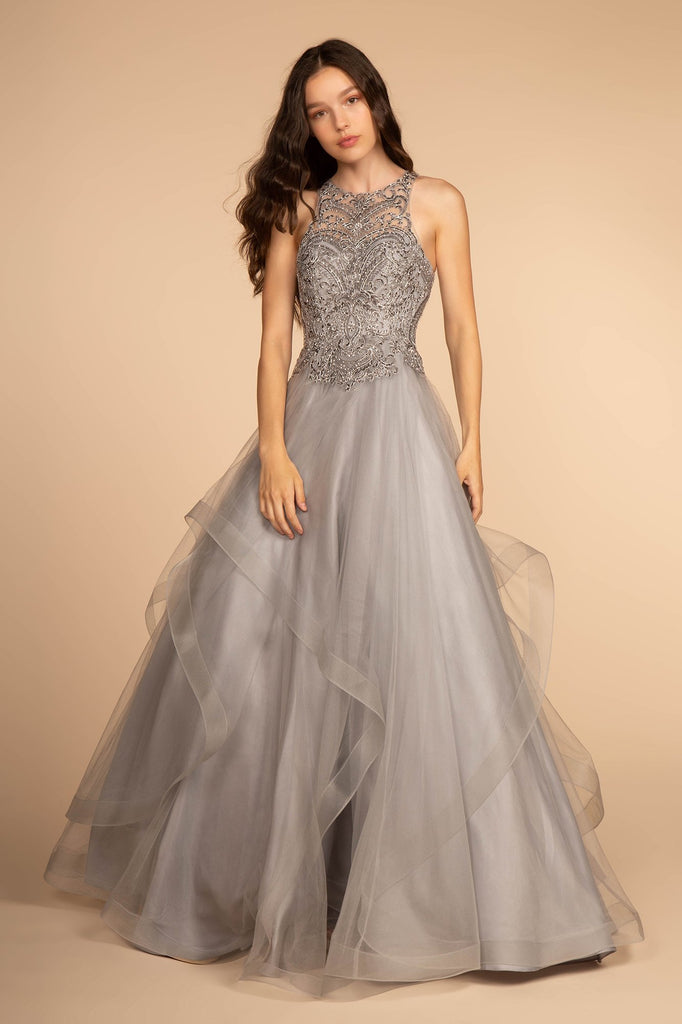 Scoop Neckline Long Prom Dress with Baedings on Waist GSGL2528