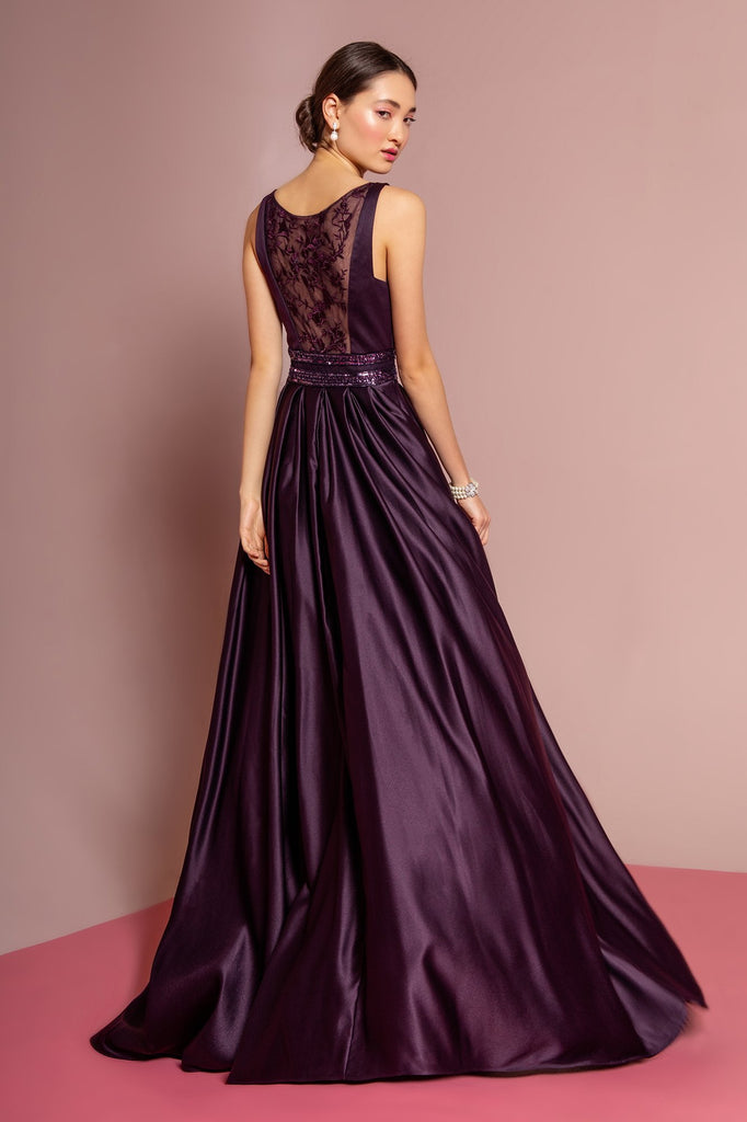 NEW Scoop Neckline Sequined Belt Long A-line Prom Dress GSGL2531