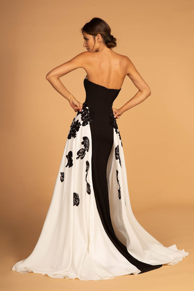 Strapless Sleevless Sweetheart Neckline Black/White Long Prom Dress GSGL2582