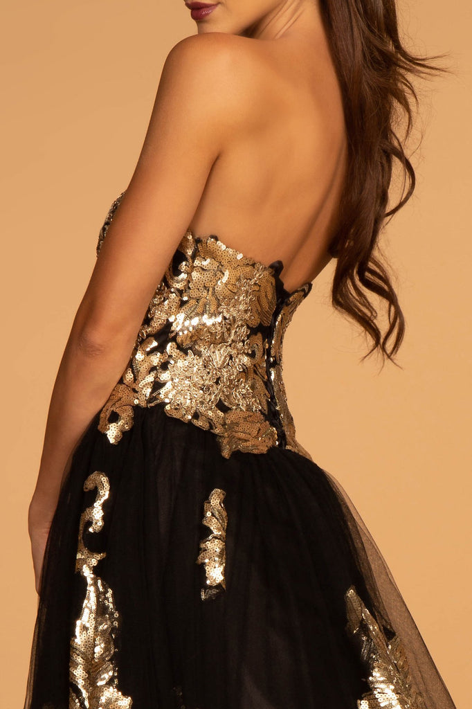 Sequined Bodice Sleeveless Strapless Long A-Line Prom Dress GSGL2654