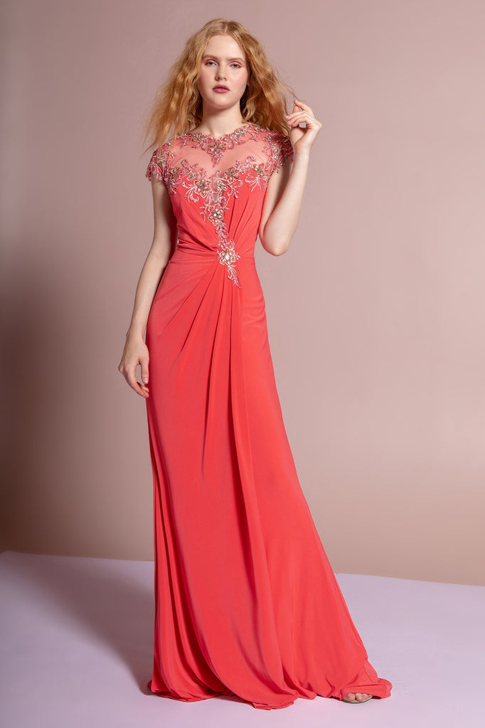Jeweled Illusion Neckline Cap Sleeves A-Line Long Prom Dress GSGL2011