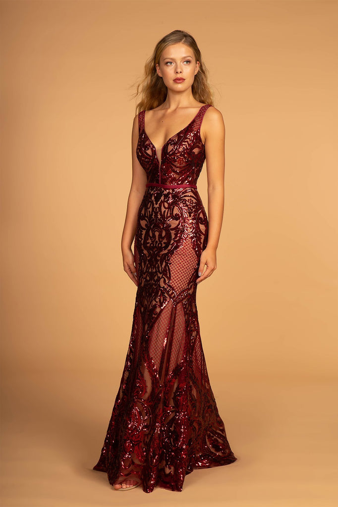 Illusion V-Neckline Sleeveless Patterned Sequined Long Prom Dress GSGL2551