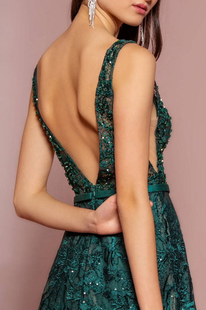 Beaded Bodice V-Neckline Long A-line Prom Dress GSGL2634
