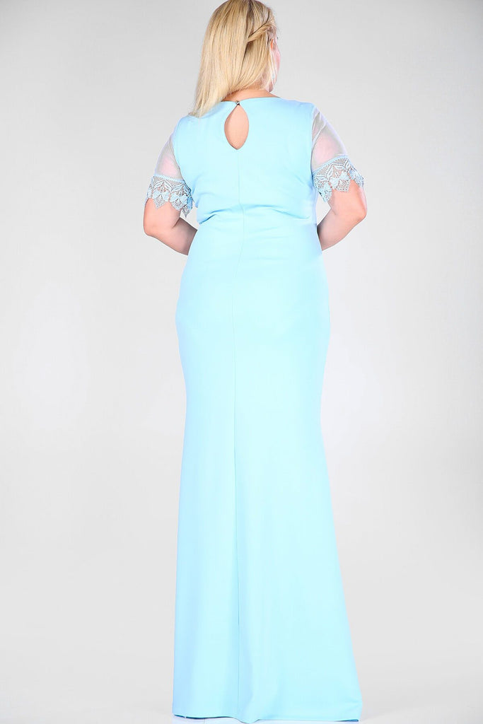 BLUE Short Sleeves Scoop Neckline Plus Size Long Mother of the Brides Dress TKELB000128230