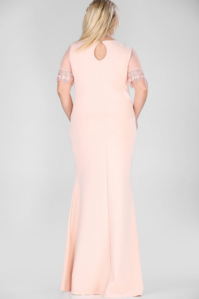 Short Sleeves Scoop Neckline Plus Size Long Mother of the Brides Dress TKELB000128230