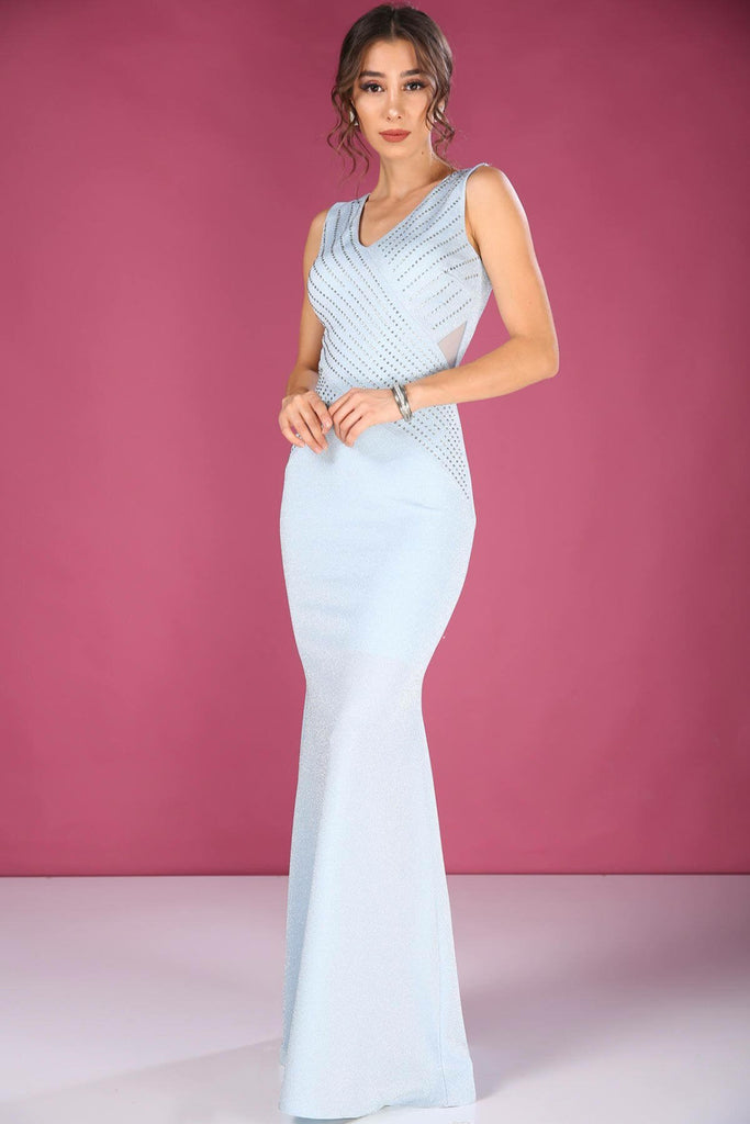 V-Neckline Sleeveless Mermaid Long Evening Dress TKELB000137120