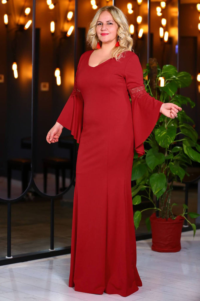 RED Long Sleeves V-Neckline Plus Size GOWN TKELB000138161