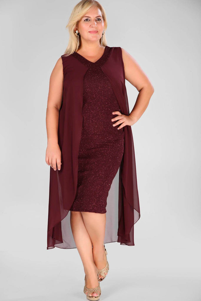 BURGUNDY V-neckline Sleeveless Short Lace Evening Dress TKELB000138323