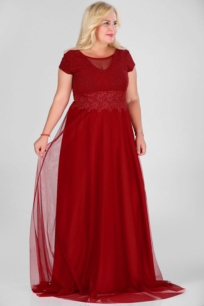 RED Illusion Scoop Neckline Cap Sleeves Long Evening Dress TKELB000139126