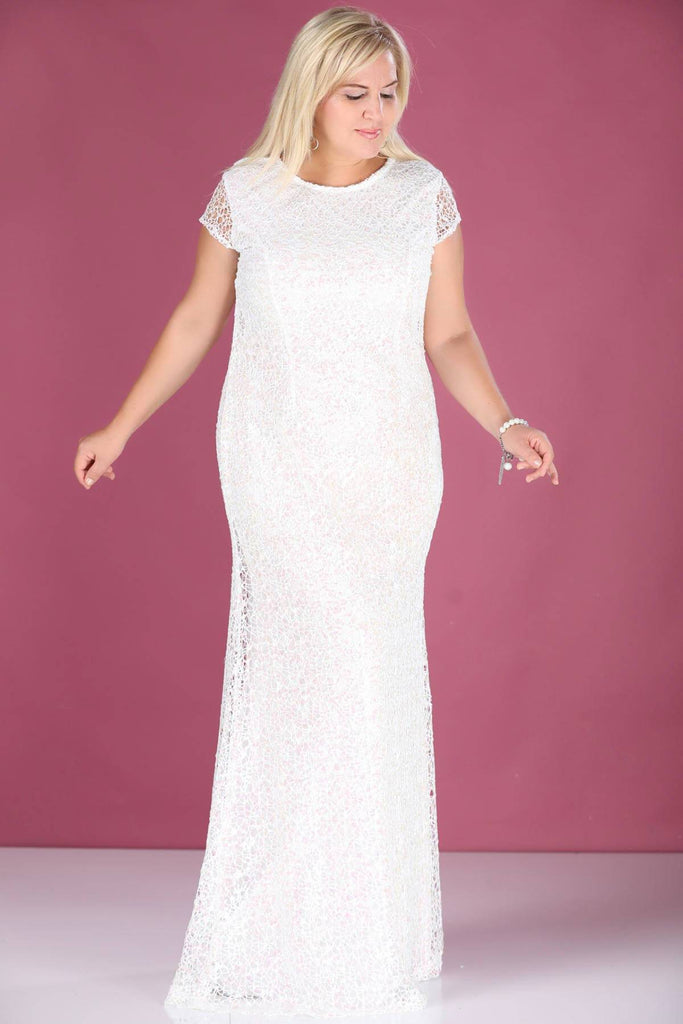 WHITE Scoop Neckline Sequined Bodice Long Evening Plus Size Dress TKELB000139131