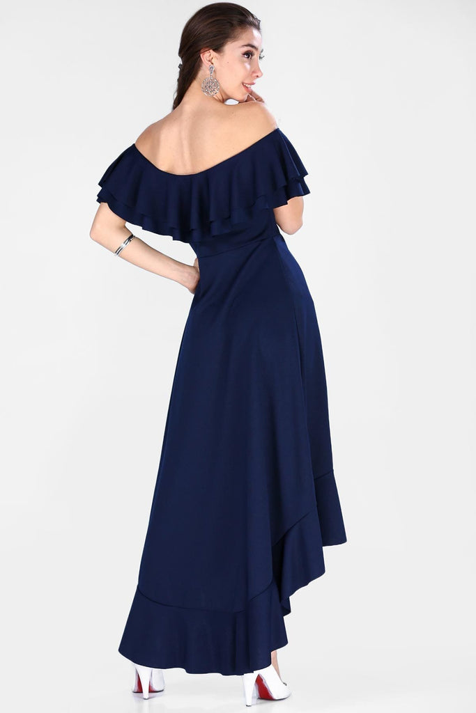 Off-Shoulder Strapless High-Low NAVY Evening Dress TKELB001509315