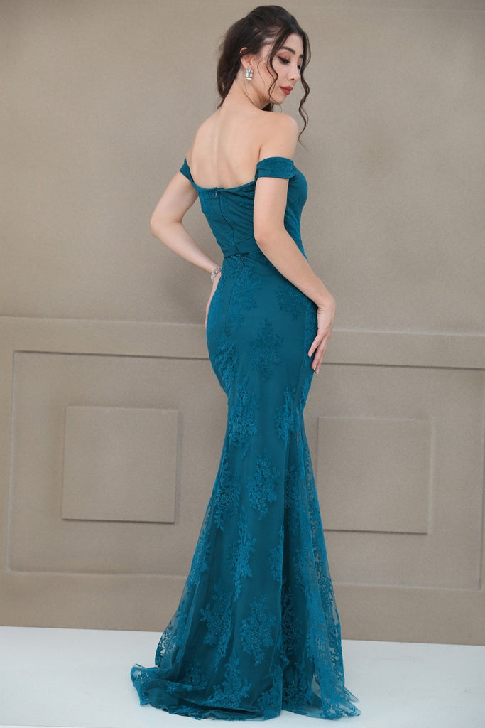 TEAL Off Shoulder Sweethaert Neckline Long Evening Dress TKELB020306094