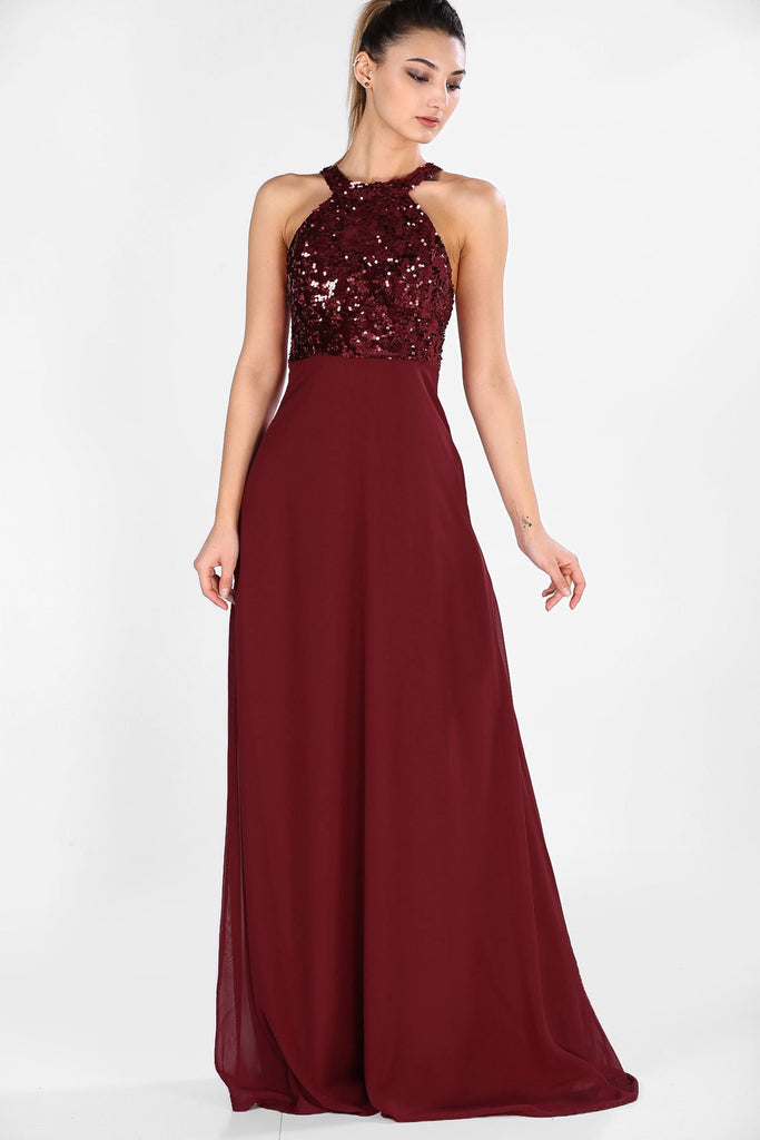 Jeweled Halter Neckline BURBUNDY Long Evening Dress TKELB020306149