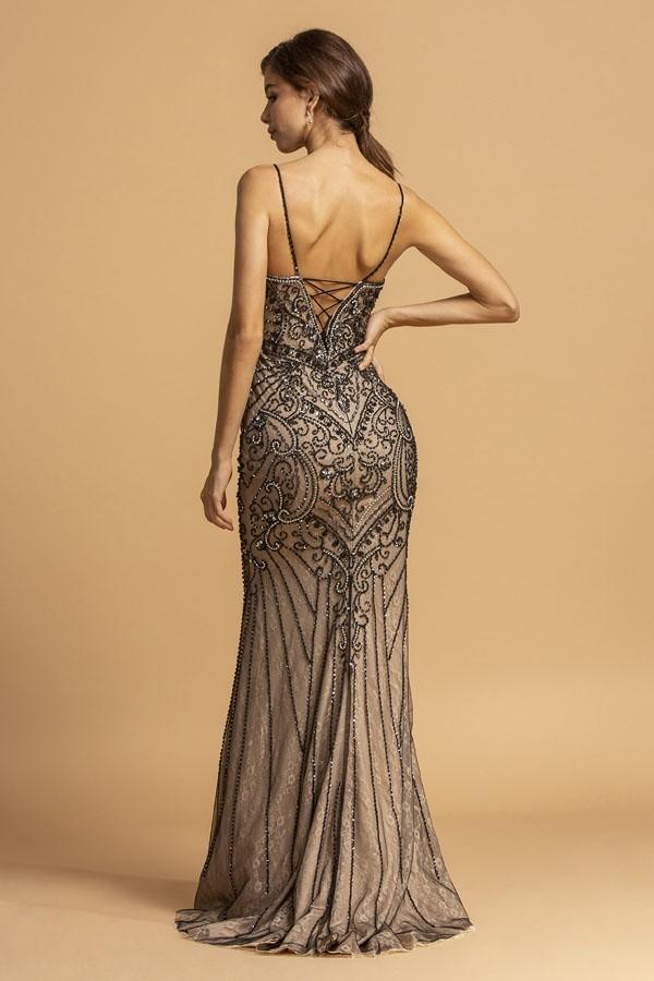 Beaded Patterned Bodice Sleeveless Long Prom Dress APL2176