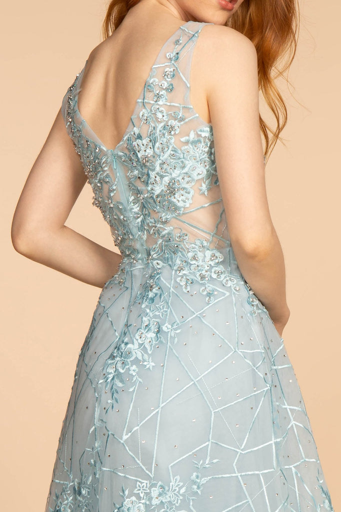 Mesh Illusion V-Neck Embroidery Long PROM Dress GSGL2564
