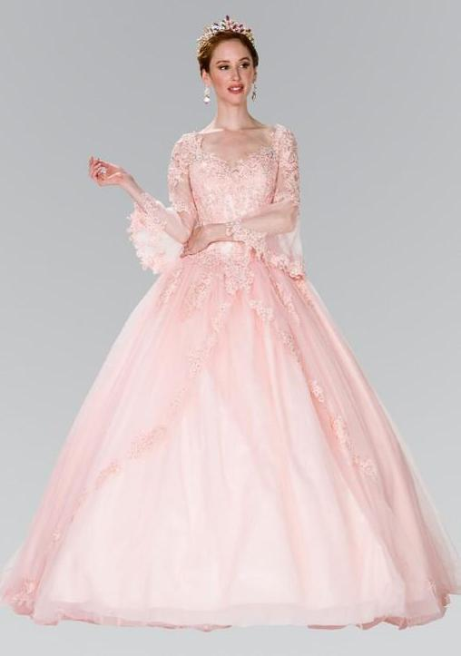 2019 New Flower Embroidery Long Prom Dress with Long sleeve GSGL2377