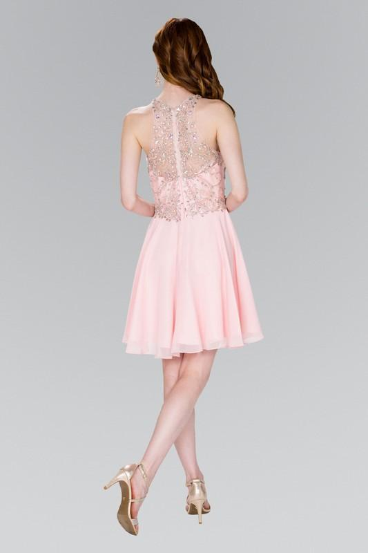 2019 NEW Jewel Embellished Chiffon Short Cocktail Dress GSGS2395
