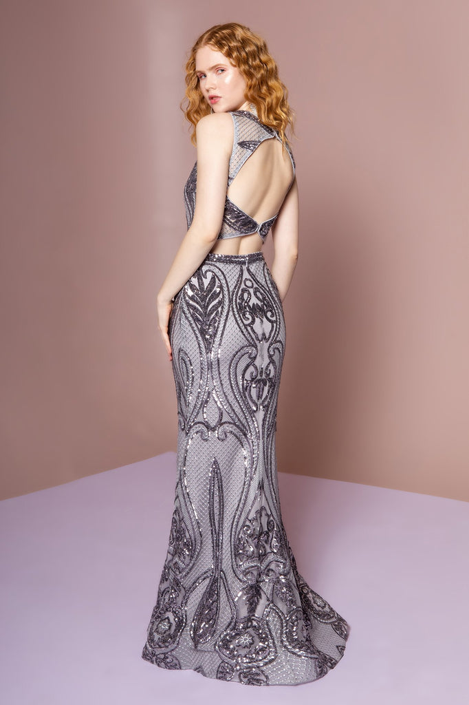 Halter Neckline Sleeveless Long Patterned Prom Dress GSGL2627