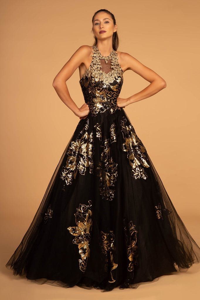 Illusion Halter Neckline Floral Bodice Long Prom Dress GSGL2655