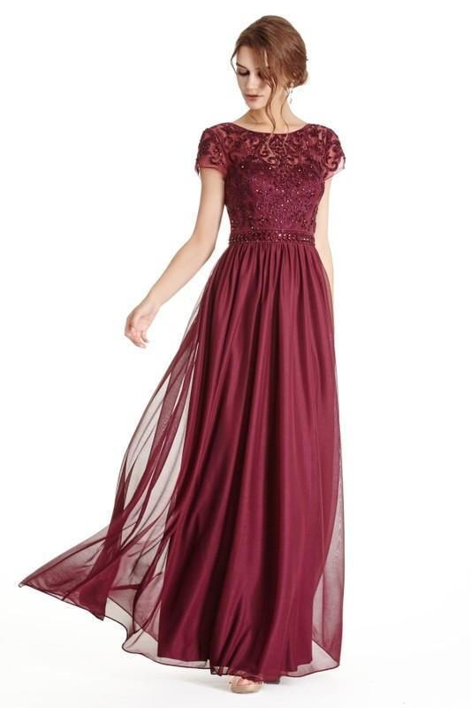 Cap Sleeve Illusion Neckline Long Evening Dress APM1842