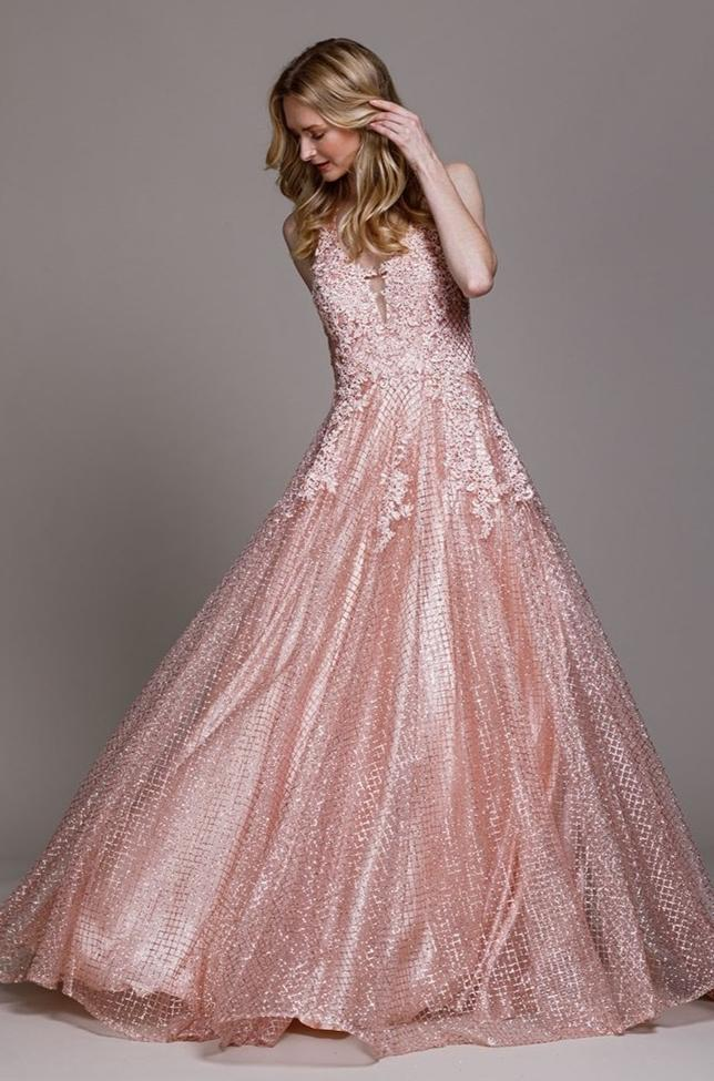Jeweled Floral Ballgown Long Prom Dress ACR011