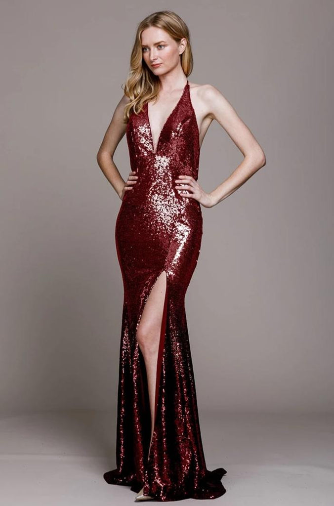 Deep V-Neckline Sleeveless Leg Slit Long Prom Dress ACR020