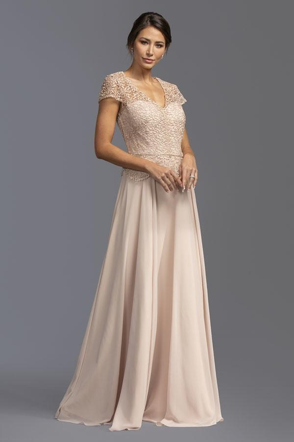 Short Sleeves Scoop Neckline Mother Of the Bride Long Dress APM