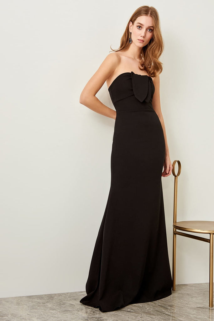 Bateau Neckline Strapless Long Black Evening Dress TKTPRSS18FZ0218