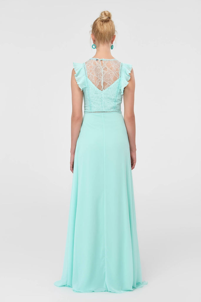 Lace Scoop Neckline Sleeveless Long Evening Dress TKTPRSS18FZ0298