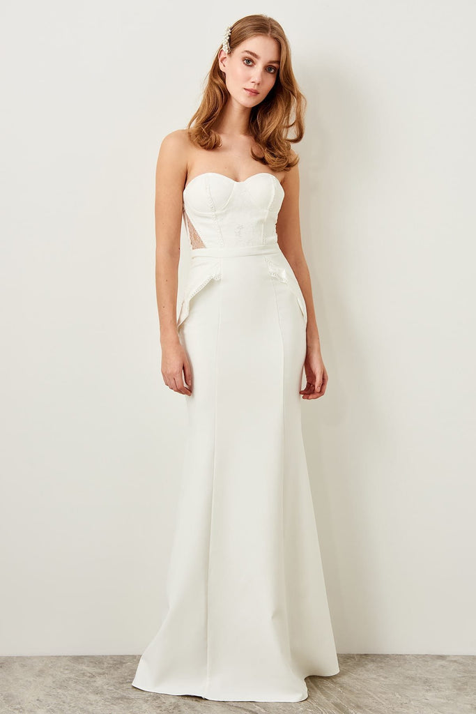 Sweetheart Neckline Strapless WHITE Long Evening Dress TKTPRSS18LL0049