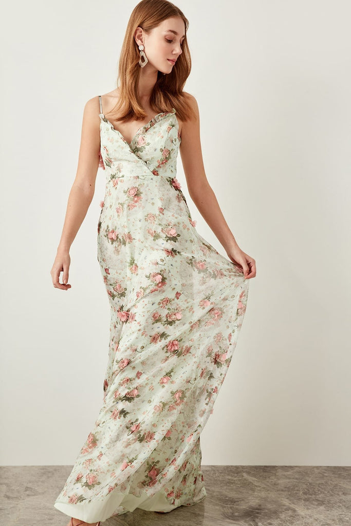 Dream Dress Floral Printed and Beaded Long Evening Dress TKTPRSS18UZ0041