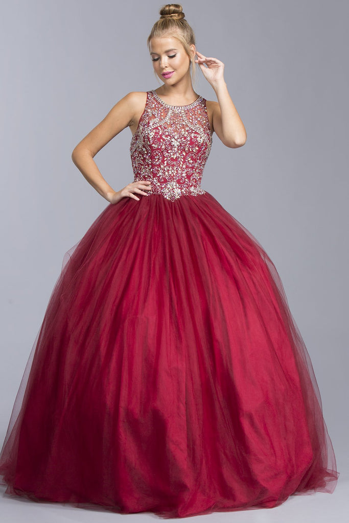 Long Ball Gown With Jewels and Open Back APL1930-Long Dresses-smcfashion.com