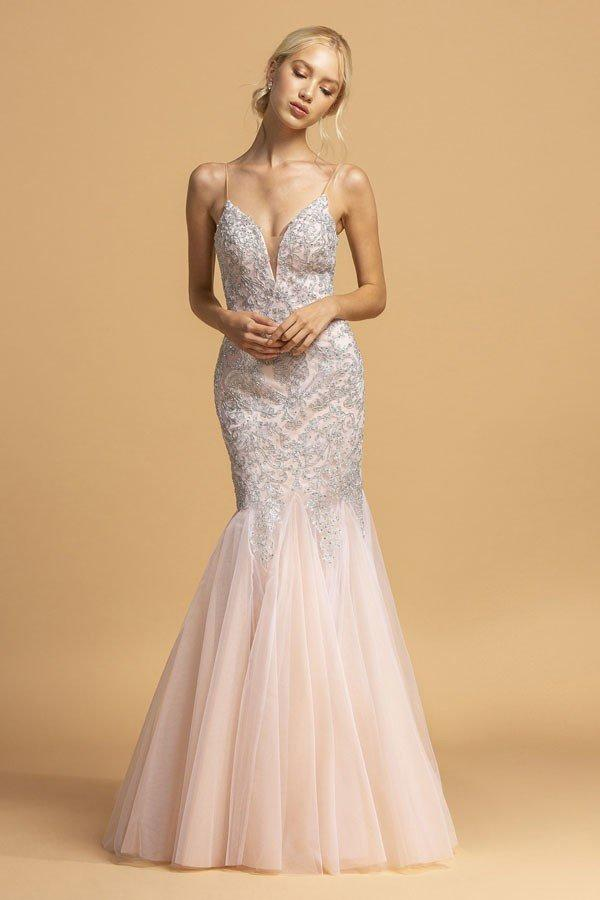 Beaded V-Neckline Long Mermaid Prom Dress APL2169