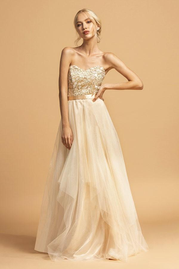 Jeweled Sweetheart Neckline Long Prom Dress APD187