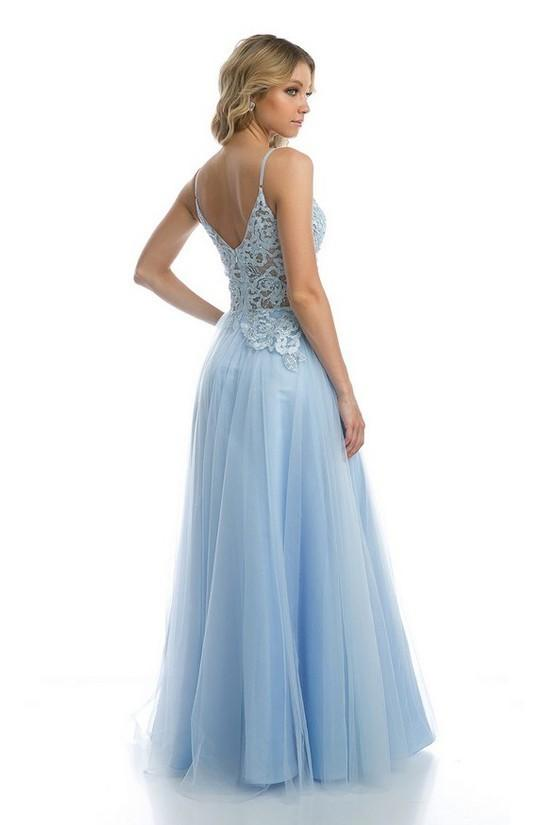 V-Neckline Patterned Waist A-line Long Prom Dress JT212