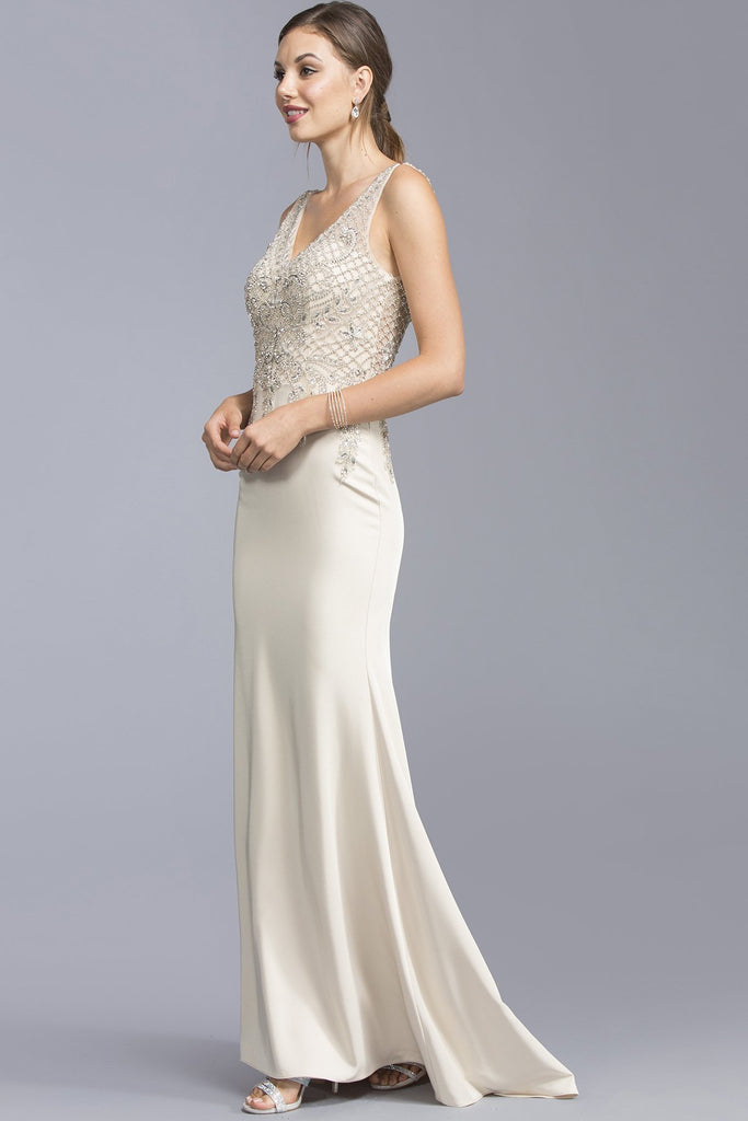 Mermaid Long Formal Dresses With Open V-back APL2051-Evening Dresses-smcfashion.com