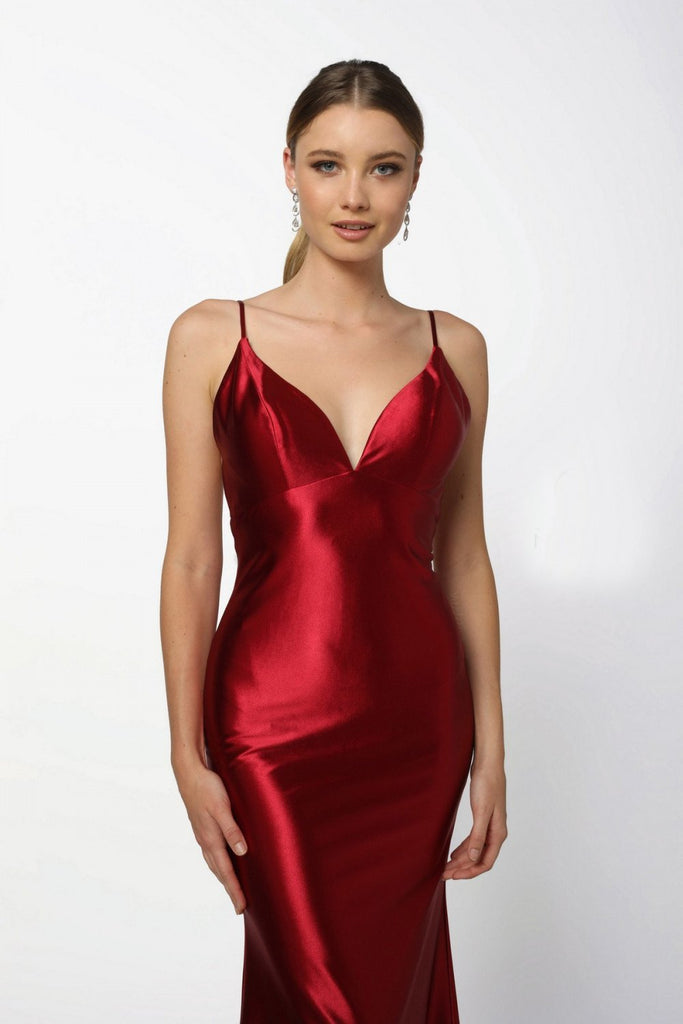 V-Neckline Sleeveless Classic Mermaid Evening Dress NXC227