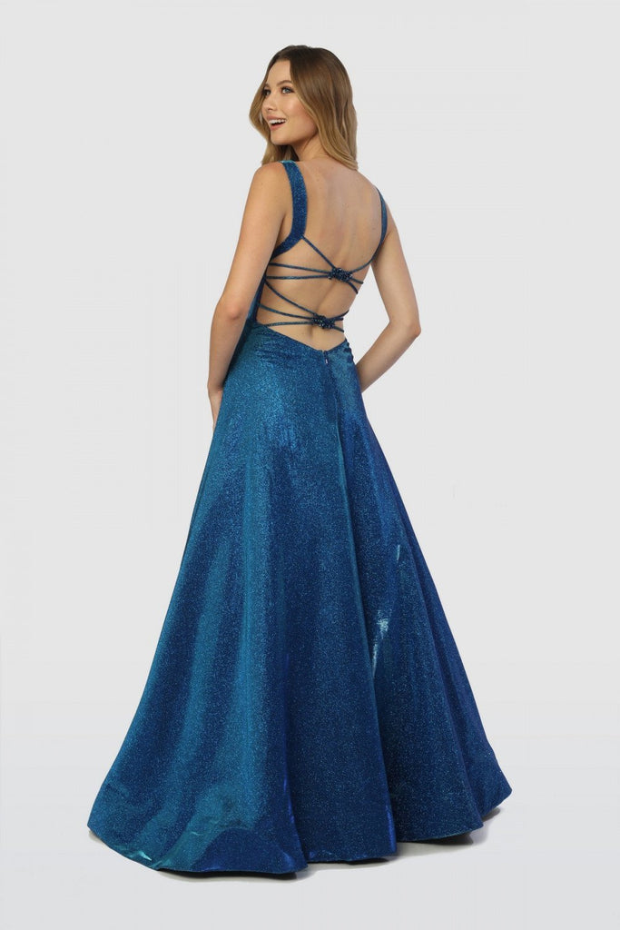 NEW Square Neckline Sleeveless Open Back A-Line Long Evening Dress NXC240